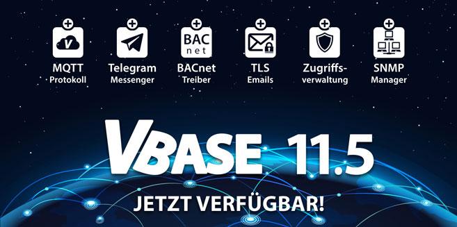VBASE 11.5 mit MQTT, Telegram, OPC UA und SNMP Unterstützung.